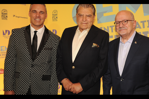 Festival executive director Jaie Laplante and Miami Dade College president Eduardo J Padron flank Don Francisco